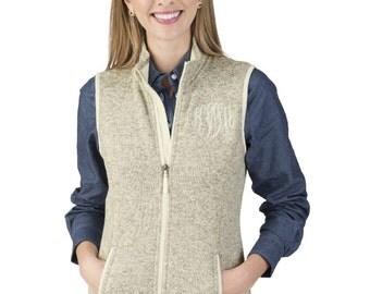 Monogrammed Heathered Fleece Vest