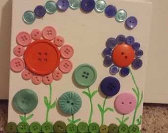 Button Art Spring Flowers