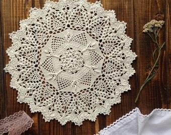 Doily Crochet doily-Crochet Doily Cream-Crochet round doily 24cm .