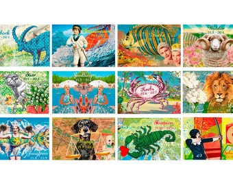 12 greeting cards / zodiac with envelope set
