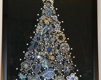 Framed vintage jewelry Christmas tree