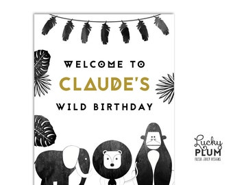 Safari Animal Safari Welcome Sign / Tribal Welcome Sign / Boho Welcome Sign / Born To Be Wild Welcome Sign / Feather Welcome Sign