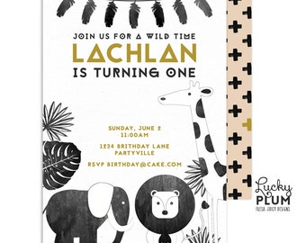 Safari Birthday Invitation / Animal Birthday Invitation / Zoo Birthday Invitation / Born To Be Wild / Boho Tribal Birthday Invitation