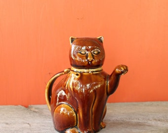 lucky kitty creamer . vintage cat teapot or porcelain cat creamer . maneki neko cat . cute brown cat with removable head