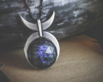 Labradorite & sterling silver - Horned God - hand made occult, witchcraft, pagan, wicca pendant