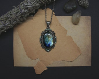 Labradorite necklace with light green crystals - Genuine blue & green gemstone amulet  // occult, witchcraft, ritual stone