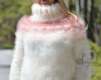 ORDER handmade sweater Icelandic mohair jumper hand knitted pullover fuzzy mohair sweater Icelandic pullover fitted sweater soft sweater S