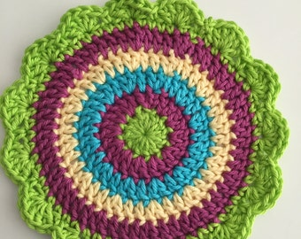 Psychedelic colors  Dishcloth, Free Shipping, Boho Retro colors ,  Hot Pad,  dish cloth , ready to ship, dish rags, dish scrubbers