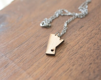 Manitoba Necklace - Bamboo - Manitoba Necklace Manitoba Charm Manitoba Pendant Manitoba Map Manitoba Jewelry Canada Jewelry