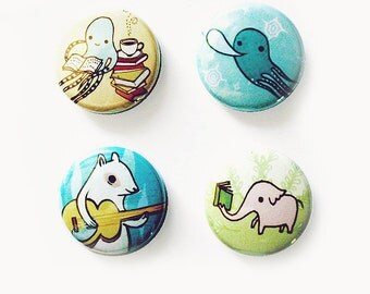 buttons ANIMAL BUTTONS 1 inch buttons pinback button badge button set by boygirlparty - octopus elephant squid squirrel