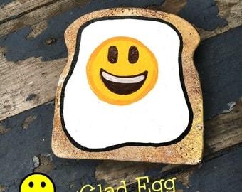 Sad Egg Glad Egg Egg-moji Toast Emoji Emoticons Gag Gift Geekery Fun