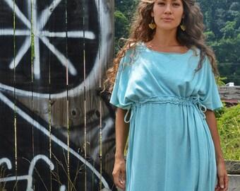 Indian Summer Full Length, Short Sleeved dress in organic hemp jersey. Made to order. Organic Hemp Clothing. Eco Friendly. Dress for Peace.