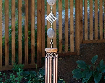 Wind Chimes Natural Pacific Beach Stone with Large Copper Chimes, modern, unique