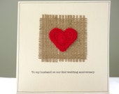 2nd wedding anniversary card - romantic hessian and red heart personalised greeting card - cotton wedding second anniversary - husband wife