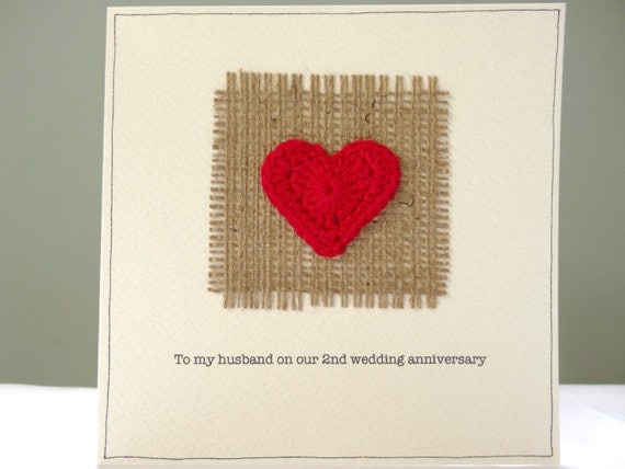 Second Wedding Anniversary Gifts For Husband: 2nd Wedding Anniversary Card Romantic Hessian And Red Heart