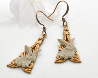 Tan Bunny Earrings Rabbit Jewelry Baby Bunnies - Rabbit Earrings - Bunny Jewelry