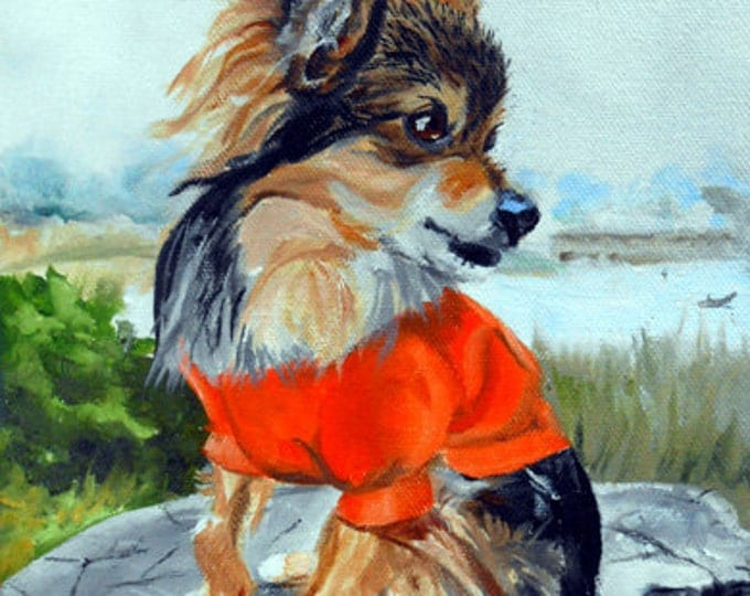 Small Dog Portrait Oil Painting, by Artist Robin Zebley, Custom Pet Portrait Art, Oil Painting from Photos, Artist Robin
