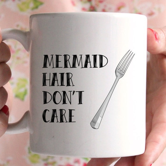 Mermaid hair don't care mug, disney the little mermaid inspired