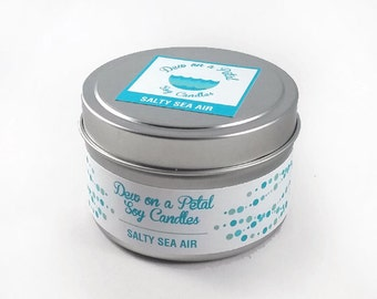 Salty Sea Air Soy Candle Travel Tin 6 oz