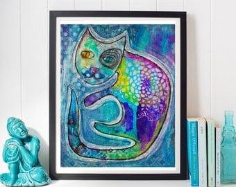 whimsical, cat, feline, mixed media, cat art, boho cat, nursery decor, cat art, mandala, alice in wonderland, folk art, pet art