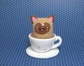 Siamese Teacup Kitty Figurine - Collectible Miniature Clay Figure