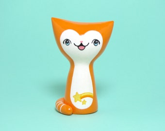 Orange Comet Kitty Figurine - Collectible Miniature Resin Figure