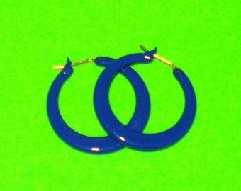Vintage 1980s Bright Royal Blue Classic Hoop Earrings