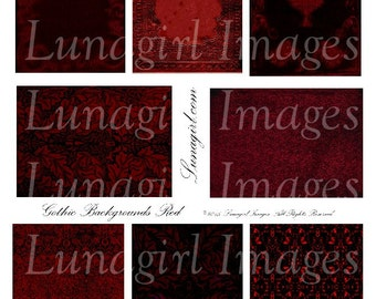 RED GOTHIC Backgrounds Digital Collage Sheet, Atc vintage images Victorian frames, Dark spooky Steampunk elegant ephemera printable DOWNLOAD