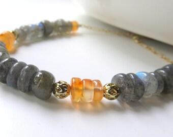 Dainty Labradorite Bracelet, Gold Gemstone Line Bracelet,  Petite Carnelian Beads, Gemstone Chain Bracelet, Blue Labradorite, One of a Kind