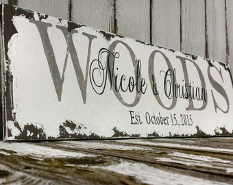 FAMILY NAME SIGN, Established Sign, Personalized Sign, Shabby Chic Sign, Distressed Sign, Hand Painted