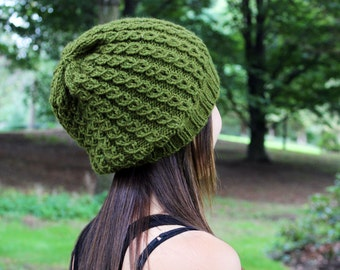 Olive Green Slouchy Hat - Vegan Chunky Knit Tam Beanie - Warm for Fall & Winter - Boho Hat - Hipster Hat - Womens Gift - Gift for Her