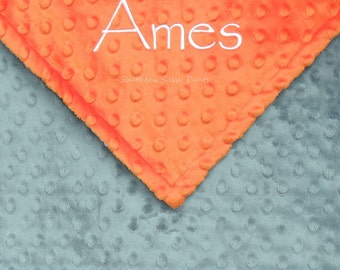 Baby Boy Blanket , Personalized Baby Boy Blanket - Orange and Gray, or ANY color combination