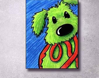 Giclée Canvas Art PRINT Green Dog Rufus