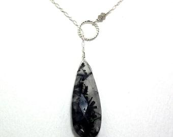 Annette - Rutile quartz, grey moonstone, and crystal quartz necklace