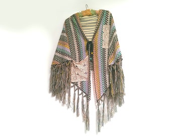 Woven Cape, Fringe, Recycled, Vintage Lace, Knit, Stripes, Colourful, Boho, Shawl