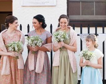 Bridesmaids tea dresses 1940s vintage style cap sleeve dress vintage wedding polka dot poppy print floral print spring summer mismatched