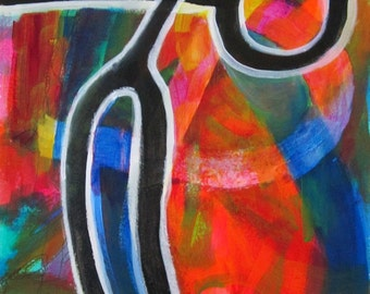 Original Art Abstract Acrylic Painting Colorful Blue Orange Red Bold Black Circle Lines Unframed