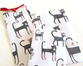 Paper Bag: Instant Download, Christmas Cat Gift Bag