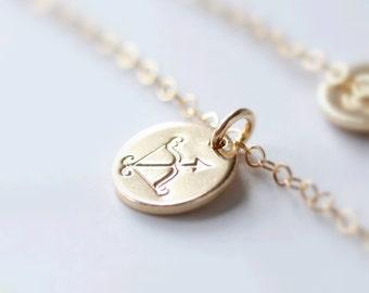 Sagittarius Necklace, Zodiac Necklace, Gold Sagittarius Necklace, Zodiac Jewelry, December Birthday Gift, Sagittarius Sign, Friendship Gift