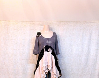 REVIVAL Women's Upcycled Boho Shirt, Shabby Chic Country Bohemian Junk Gypsy Style, Small to Medium, Recycled Repurposed EcoFriendly