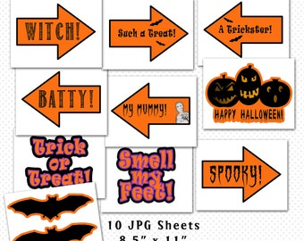 Halloween Photo Booth Props, Halloween Party Decorations, Printables, Halloween Party Printables, Photo Booth Props, Halloween Signs