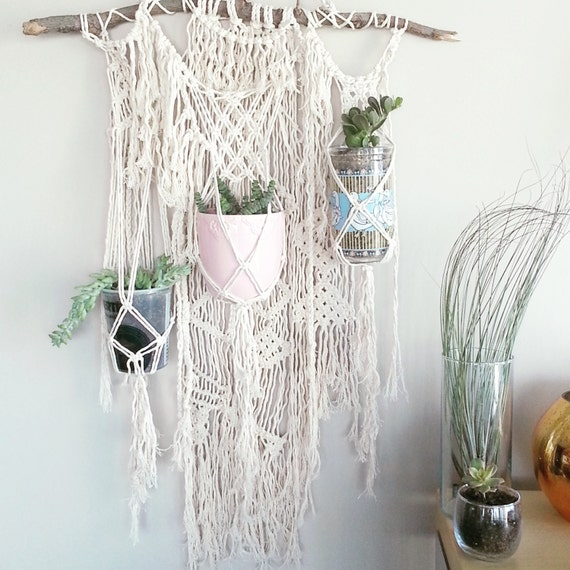 Hanging Plant Wall Decor : Custom plant macrame hanging planter wall accent bohemian