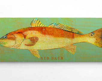 Gifts for Him- Red Drum Art Block- Saltwater Fish Art Beach Theme Art- Unique Gifts for Boyfriend- Red Drum Print- Redfish Print- Gift Idea