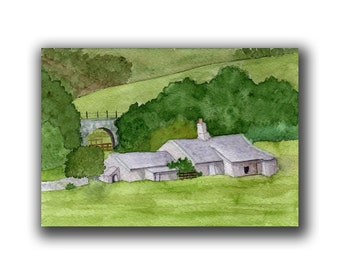 COTTAGE on the Green original watercolor SFA landscape lush
