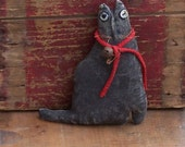 Primitive Black Cat, Miniature Cat, Small Black Cat Ornament, Valentine Gift for Her, Cat Engagement Prop, Stuffed Cat #2 - READY TO SHIP