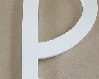 Single letter P white, wood, wall décor, mantel décor, 9 inch letter P, bathroom wall, nursery wall, kid's wall, office wall, mantel decor