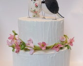 Wedding cake topper, love birds with vintage rose fabric