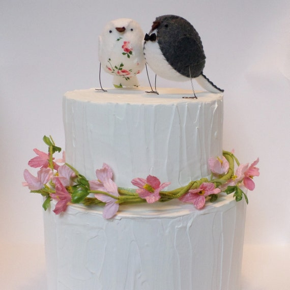 Wedding cake topper, lovebirds with vintage rose fabric