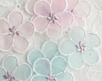 Vintage sheer pink and blue flower appliques (new old stock)
