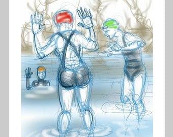 greetings card: 'Getting In' - art card, open water swimming, wild swimming, ice swimming